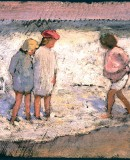 Louis Comfort Tiffany. Infants a la platja, 1889. Oli sobre paper