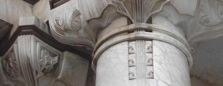 Detail of a column in the Palacio de Bellas Artes, designed by Adamo Boari in 1904 (© SEDUVIGD)